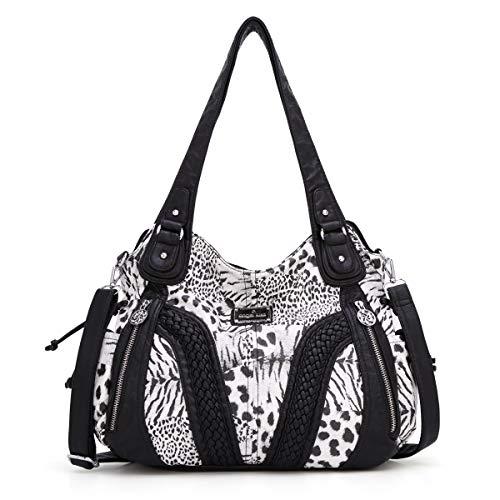 Angelkiss Women Top Handle Satchel Handbags Shoulder Bag Messenger Tote Washed Leather Purses Bag (Black Leopard)