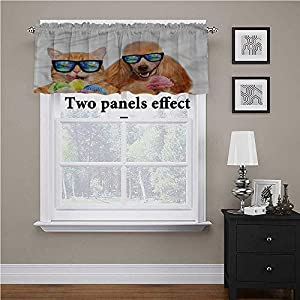 Curtain Valance Animal, Cat Dog with Ice Cream Curtain Valance Window Treatment Adds A Nice Touch to Your Living Room,