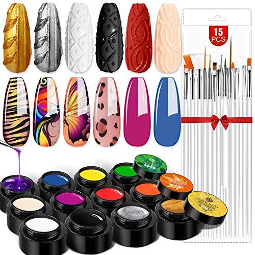 Saviland Gel Paint Kit - Gel Nail Polish Kit 12 Colors Soak Off Gel Polish Set with 15pcs Painting Drawing Nail Brush Pen for Nail Art Design & Nail Salon
