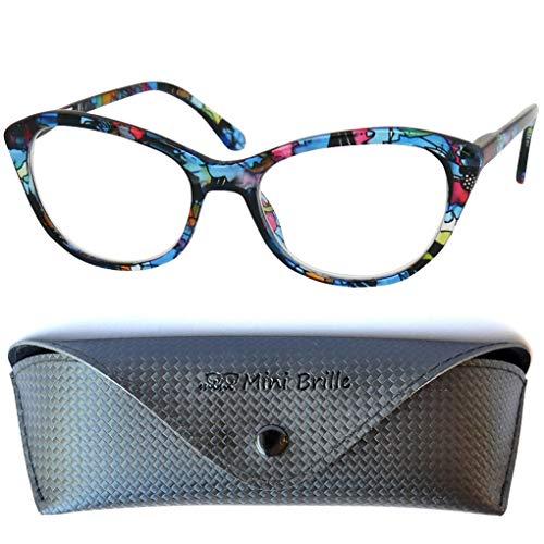 Cateye Blaulichtfilter Lesebrille mit GRATIS Brillenetui, Kunststoff Brillengestell Bunt (Blumen Muster Blau), Anti Blaulicht Brille Damen +2.5 Dioptrien