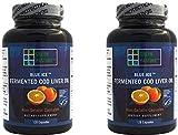Blue Ice Fermented Cod Liver Oil - ORANGE Flavor - 120 Capsules - 2 Pack
