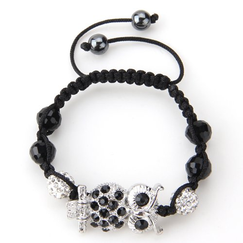 Ecloud Shop Metall Strass Nylon geflochten Armkette Kette Armband Armreif Eule verstellbar