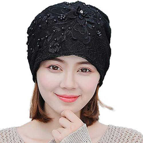ZHANSANFM Beanie Mütze Turban Damen Sardellen Spitze Kappe Hut Kopftuch muslimische Frauen Islamische Kopfbedeckung schöne weiche Slouch Hüte Elegant Cancer Haarausfall Muslim Schwarz