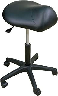 Oakworks 69419 Premium Stool with Saddle Seat Low, Coal Upholstery