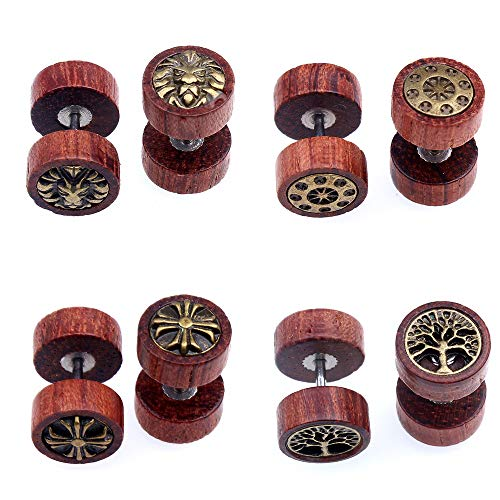 4 Pares Pack Acero Inoxidable Madera Pendientes Hombres Mujer Aretes, Pendientes Hombres Madera, Pendientes Mujer Madera, Pendientes Oro Hombre, Bisuteria Pequeños Pendientes Madera Hombre 10MM