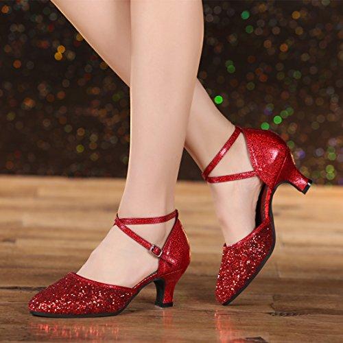 DorkasDE Damen Mädchen Tanzschuhe Latein Ballroom Tanz Schuhe Gummi Sohle mit 5.5cm Absatz - 5
