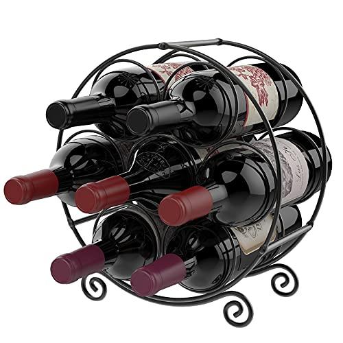 Nuovoware Botellero para 7 Botellas de Vino, Portabotellas de Pie de Hierro Metalicos Apilable Práctico, Adecuado para Decoración del Hogar y Almacenamiento en Cocina Bares Bodegas - Negro