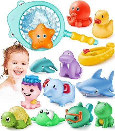 GeyiieTOYS 14 Stücke Badespielzeug Baby Poolspielzeuge Wasserspielzeug Schwimmende Tiere Fangnetz-Spiel