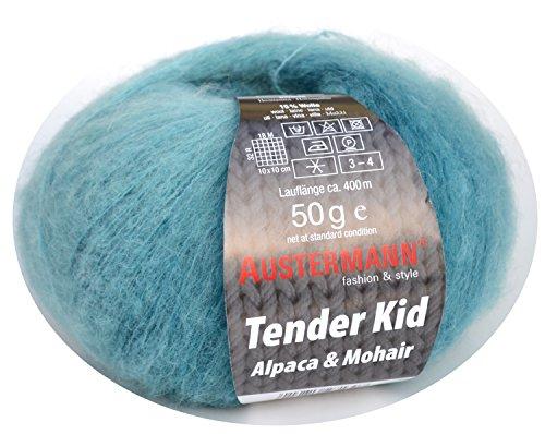 Austermann Tender Kid Fb. 05 lagune, Wolle mit Alpaca & Mohair, softes Garn mit dezentem Farbverlauf, auch als Lacegarn