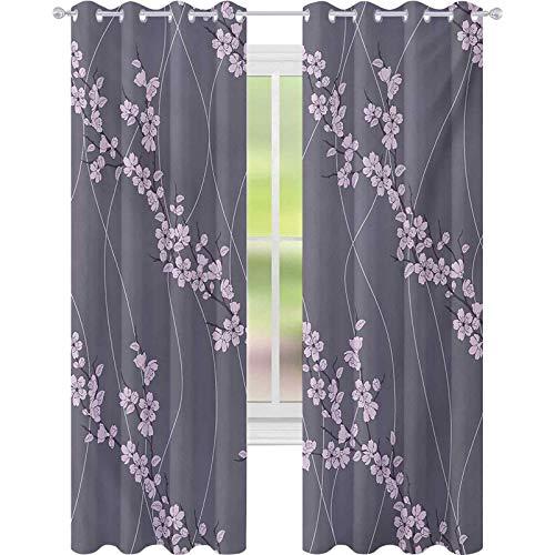 Niños cortinas opacas, Primavera Japonesa Sakura Ramas Full Blossom Moderna Composición Oriental, W52 x L63 Ventana Tratamientos Cortinas para Dormitorio, Gris Topo Pálido Rosa