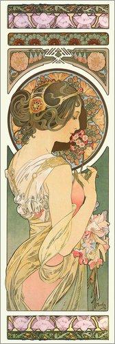 Poster 30 x 90 cm: Die Schlüsselblume von Alfons Mucha - hochwertiger Kunstdruck, neues Kunstposter