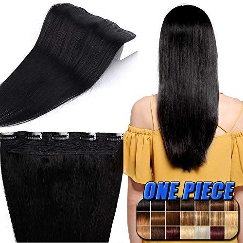 40-55cm Extension Clip Capelli Veri Fascia Unica 5 Clips Larga 25cm Lunga 40cm - 100% Remy Human Hair Capelli Naturali Lisci - #1 Jet Nero