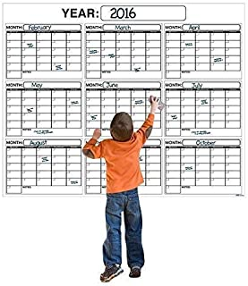 Best HUGE!! 9 MONTH ACADEMIC Dry or Wet Erase Wall Calendar Planner And Organizer 4 x 5 ft. Laminated Print Squares to Pla... photo