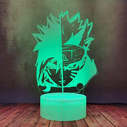 Naruto Sasuke 3D Luz de noche de ilusión 3D Lámpara de noche con control remoto Función tenue 4 modos intermitentes, decoración de dormitorio infantil, regalos de cumpleaños personalizados para niño