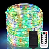 ALOVECO Rope Lights Outdoor, 66ft 336 LED String Lights Plug in Connectable Remote Dimmable Waterproof Indoor Outdoor String Lights for Christmas Party/Tree/Patio/Garden/Deck/Fence Decor-Multicolor