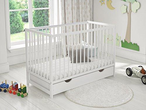 Cuna de madera para niños con cajón 120 x 60 cm + colchón de espuma + barrera de seguridad de madera + funda protectora