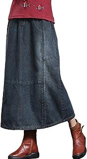 デニムスカート デニム ロングスカート レディース Aライン スカート ロング ウェストゴム ストレッチ ストレッチデニム ブラック ブルー 大きいサイズ S M L LL XXL XXXL