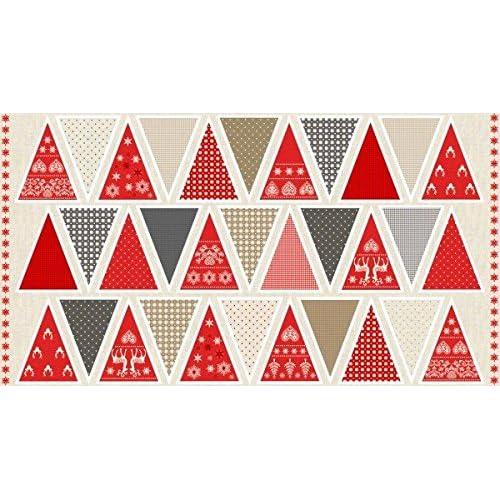 Scandinavian Christmas Holiday Bunting Cotton Quilting Panel Fabric Makower 1596