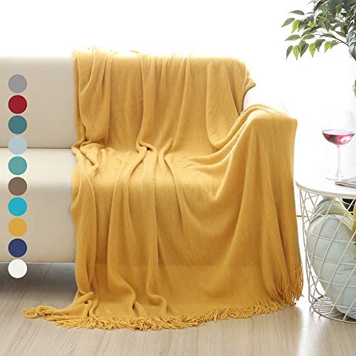 Best ALPHA HOME Gold Throw Blanket 50x60 inches Cozy and Lightweight, Modern Decorative Throw Blanket for