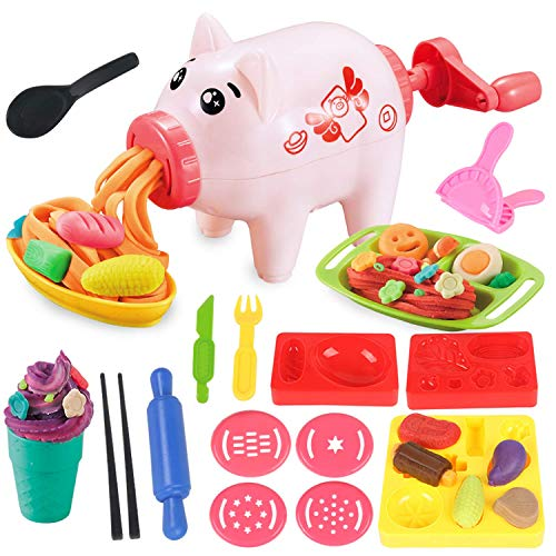 Pony Toy Modeling Play Dough Kitchen Creations Noodle Party & Ice Cream Maker Play Food Set for Kids Age 3 + Without Non-Toxic Compound Colors