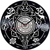 Reloj de pared con disco de vinilo de Buda para decoración del...