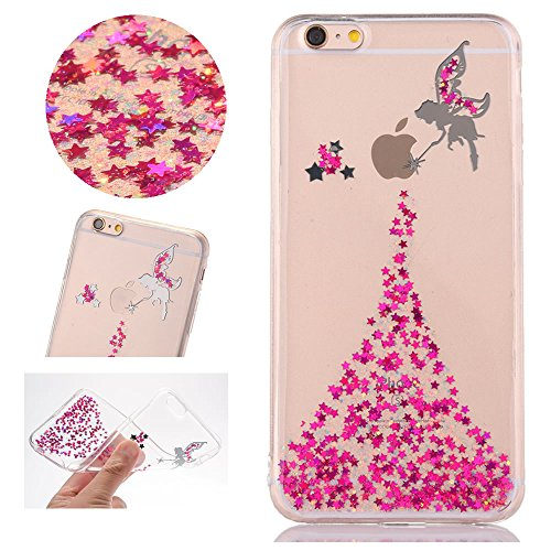 Sycode Coque pour iPhone 5 5S,Ultra Mince Glitter Transparent Beau Rose Fée Fairy Modèle Silicone Strass Cover pour iPhone Se 5S 5