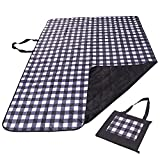 """REDCAMP Outdoor Picnic Blanket Washable Waterproof and Sandproof, 79""""x59"""" Large Foldable Lawn Blanket for Grass with Tote Bag, Black Plaid"""