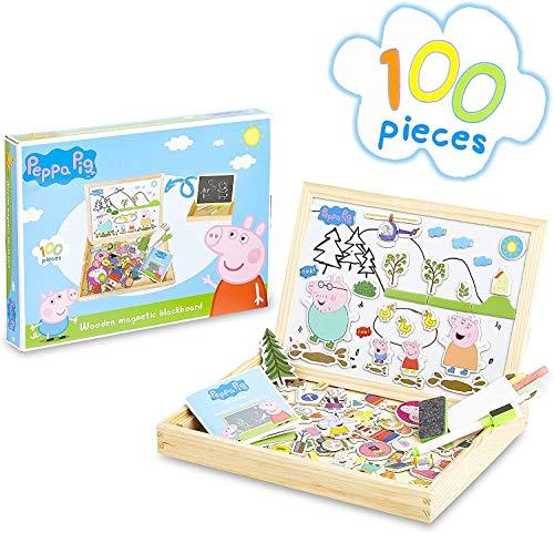 Peppa Pig Magnetisches Holzpuzzle, Magnettafel Kinder Doppelseitige Kreidetaffel, Kinderspielzeug Kreativ Set 100 Stücke, Pädagogisches Lernspielzeug Staffelei Spielzeug, Geschenke für Kinder