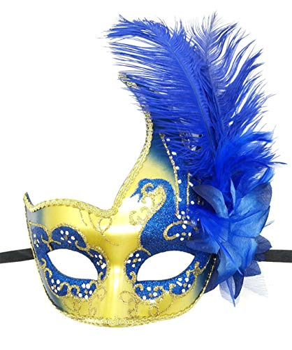 Women's Feather Masquerade Mask Venetian Halloween Mardi Gras Costumes Party Ball Prom Mask (ZA Gold Royal Blue)