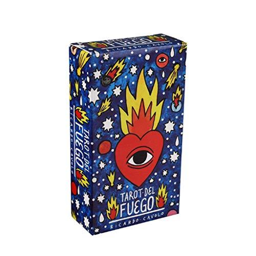 QIANGU Tarot, 78 Piezas Tarot del Fuego Cards Juego de Mesa español Oracle Deck Libro de guía electrónico