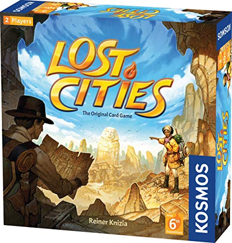 Lost Cities Card Game - with 6th Expedition | Two-Sided Board for Classic or New Edition | by Reiner Knizia | A Kosmos Game