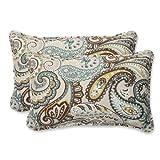 Pillow Perfect Outdoor Tamara Paisley Quartz Rectangular Throw Pillow, Set of 2 lumbar cushion Dec, 2020