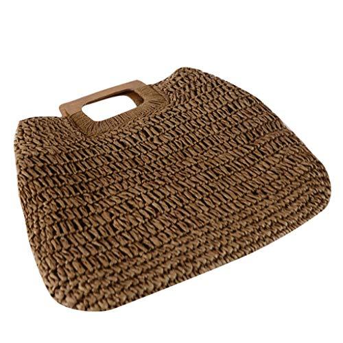 DQANIU Frauenhandtasche, Neue Hand gesponnene Beutel-Frauen-Handtaschen-Retro- Art- und Weisestrand-Beutel-weiblicher Sommer-Strohbeutel