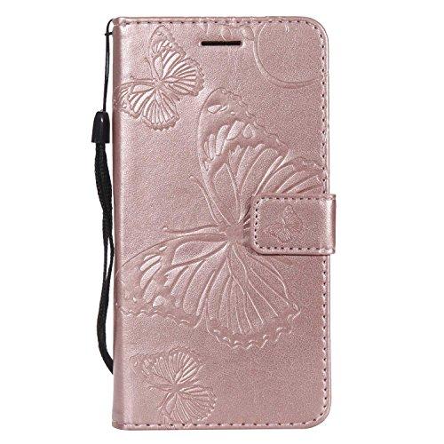 DENDICO Cover Galaxy J5 2016, Pelle Portafoglio Custodia per Samsung Galaxy J5 2016 Custodia a Libro con Funzione di appoggio e Porta Carte di cRossoito - Oro Rosa