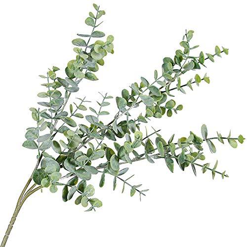 Plantas falsas de profusión, 1 pieza de hoja de eucalipto artificial, 3 ramas, planta para bricolaje, boda, fiesta, decoración del hogar, seda sintética, Verde grisáceo.