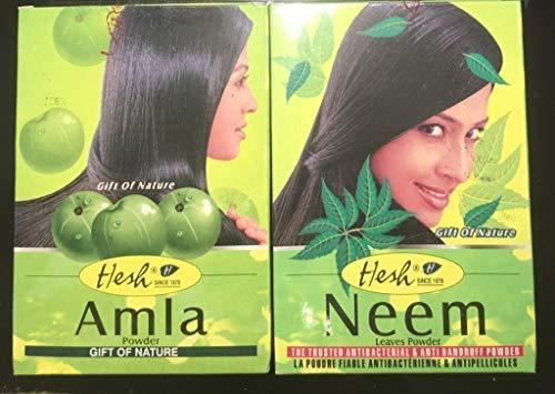 Hesh Neem (1 paquet) 100 Grams et Amla 1 paquet) 100 Grams poudre ayurvedique pour soin et renforcement des cheveux