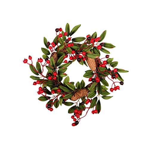 Macabolo - Corona artificial de Navidad (40 cm), color rojo