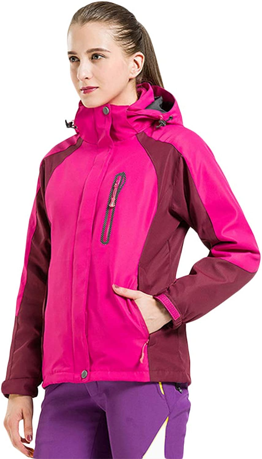 Insun Women's Waterproof Coral Feeece 3in1 Hooded Jacket Raincoat