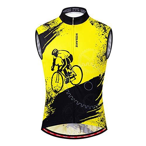 WYOUTDOOR Gilet da Ciclismo da Uomo Maglia da Ciclismo Senza Maniche Estiva Gilet da Bici Riflettente MBT Traspirante per La Corsa in Bicicletta,B,XXL