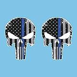Autodomy Pegatinas Punisher Calavera Estrellas Pack 2 Unidades para Coche o Moto (Azul)