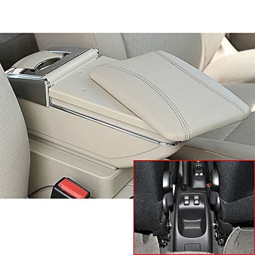 Muchkey Accoudoir de voiture pour 2006-2013 206 207 - Housse d'accoudoir central en cuir synthétique - Accessoires de décoration d'intérieur - Beige