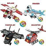 WEofferwhatYOUwant Blocs Plats Biplan, Croiseur, Avion De Chasse, Hélicoptère Et Plus Bâtiment De Puzzle en 3D. Figures Niveau 3. Collectez Les Tous