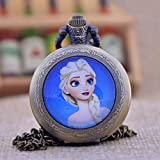 Vintage Movie Lovely Elsa Pocket Watch-Bronze Plated Pendant Necklace-Handmade Pocket Watch Necklace Jewelry For Women Men Kids Gifts