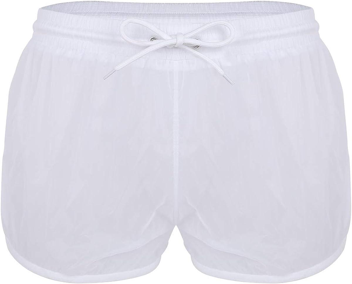 Choomomo Men's Running Workout Gym Shorts See Through Drawstring Boxer Briefs Swim Trunks Underwear