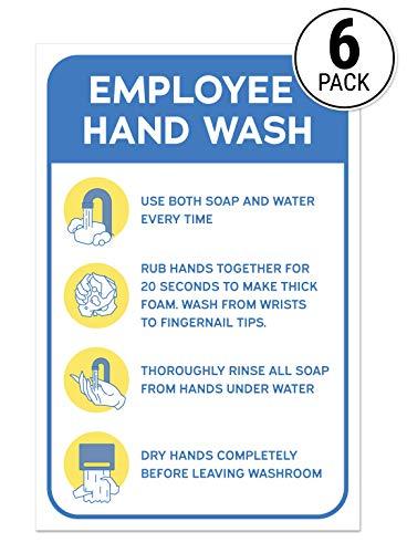 Employee Hand Wash Guide Aufkleber | Arbeitssicherheit Schilder für öffentliche Toiletten, Restaurants und Krankenhäuser (6 Stück)