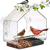 WLDOCA Alimentador de pájaros Mascotas Ventana, Estar colgado de Aves alimentador de Aves de Jaula acrílica Transparente, ventosas - 20 * 10 * 19cm