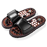 BYRIVER Natural Stone Deep Tissue Acupressure Foot Massage Slippers Shoes Sandals Reflexology Massager Relive Arthritis Pain (BK 29)