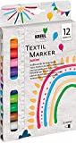 Kreul 90720 - Textil Marker medium Junior, 12 Stoffmalstifte für helle Textilien, mit großer unempfindlicher Faserspitze, Strichstärke circa 2-4 mm, waschecht nach Fixierung