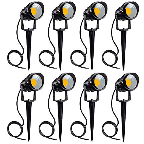 YOMOSA 7W LED Landscape Lights Pathway Lighting 12V/24V Low Voltage Spotlights Warm White IP65 Waterproof for Driveway, Yard, Lawn, Patio, Swimming Pool, Outdoor Garden Lights (8Pack)