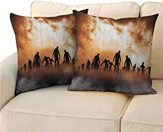 QIAOQIAOLO Pack of 2 Personalized Pillowcase Halloween Decorations Double-Sided Printing 18x18 inch Zombies Dead Men Body Walking in The Doom Mist at Dark Night Sky Haunted Decor Orange Black